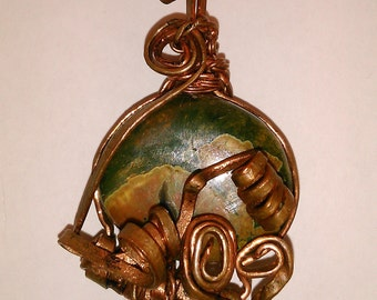 Rhyolite pendant, Wire wrapped pendant, Copper wire pendant, Crystallotherapy, Gemstone jewelry, Crystal necklace,