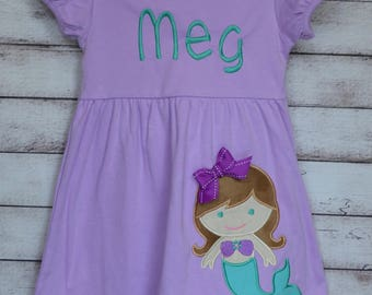 Personalized Mermaid Applique Dress