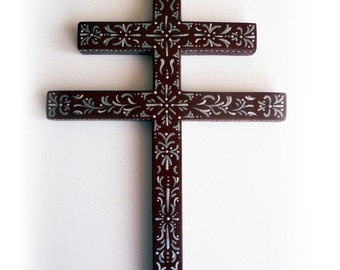 Cross of Lorraine, Crusader's Cross, Slovak, French, German, Italian, Double-Barred Cross Hand Cut & Painted, For Church or Home Signed