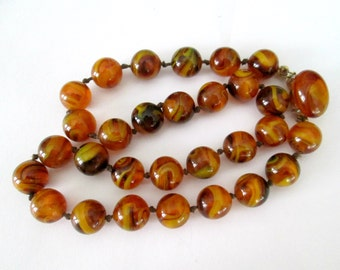 Amber Art Glass Necklace Crown Trifari Mid Century Jewelry