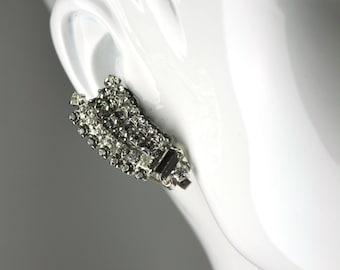 Grey Silver Crystal Climber Statement Vintage Clip Earrings Signed Kramer