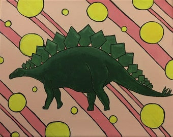 "Colorful Stegosaurus Painting Print 8x10"""
