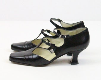 Vintage 90's Stephane de Raucourt shoes // Black 1920's Style T strap heels