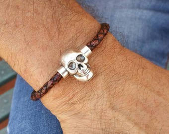 Men's skull bracelet, skull leather bracelet, vintage brown bracelet, skull leather bracelet for men