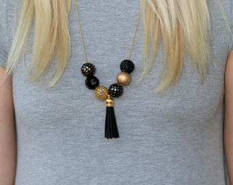 Game Day Necklace, Game Day Jewelry, Black and Gold Necklace, Black and Gold Jewelry, College Necklaces, College Gifts, College Jewelry