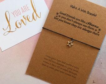 Make A Wish Bracelet / Charm Bracelet - Good Friends Are Like Stars, Star, Star Charm, Wish Bracelet, Star Jewelry, Gift For A Friend