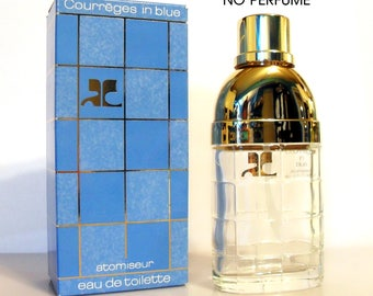 Vintage Perfume 1980s Courreges in Blue by Courreges 1.7 oz EDT Spray Box EMPTY Bottle