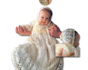 Christening Gown & Bonnet Lace and Roses Vintage Crochet Pattern - PDF Instant Download - PrettyPatternsPlease