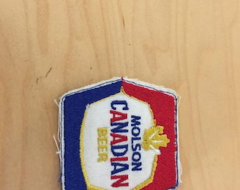 vintage beeer patch, molson canadian beer, new old stock, 1970's red/white /blue