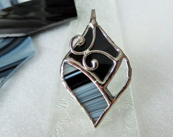 Unique black and white stained glass pendant