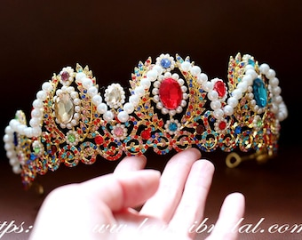Gold Colour Bridal Crown Headpiece with  Rainbow color Rhinestone Crystal Wedding Hair Crown,Colorful wedding Accessories