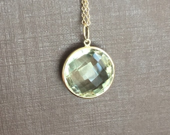 14k solid yellow gold and green amethyst large pendant charm, gemstone