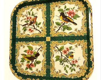 Vintage Daher Decorated Ware Square Green Bird Tray