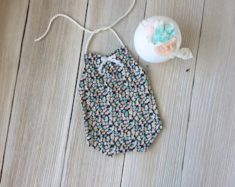Floral Newborn Romper Photo Prop SET with Stretch Headband- Newborn Girl Newborn Prop- Ready to Ship
