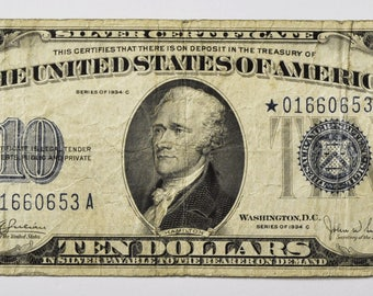 1934 C 10 Silver Certificate STAR Note Ten Dollars *01660653A Rare