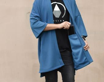 Men's Long Teal  Kimono Cardigan, Japan Oversized Noragi Jacket, 4 Pockets Coat, Textured Anti Wrinkle Fabric, One Size Street Haori Yukata