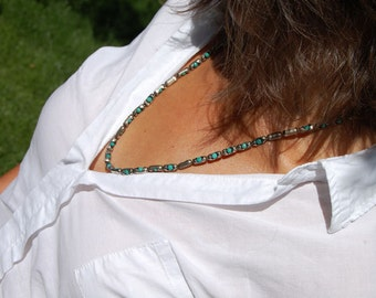 Montana - Men's or Women's Sterling Silver w Turquoise Necklace or Bracelet, Mens Sterling Necklace