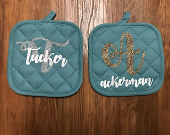 Personalized Potholders, Customized in your choice of Gold of Silver Glitter