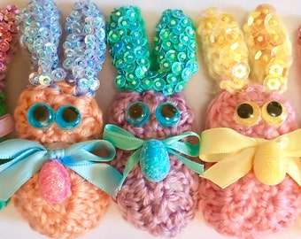 6 Peeps, Crochet Beaded Bunnies Peeps, Bowl Fillers, with Matching Plastic Egg, Easter Bunny Decoration, Basket Bunnies