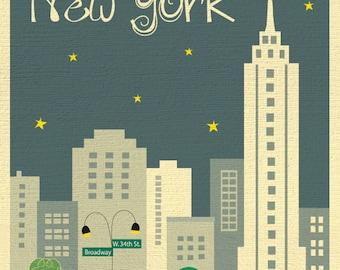 New York City Skyline Art Print, NYC Print, New York City Nursery Art, NYC Vertical Art (style - E8-O-NY2 gray)
