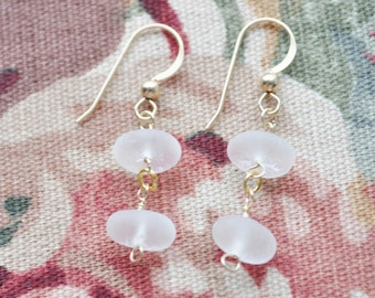 Genuine Sea Glass Beach Dew Drop Earrings Double in White and 14k Gold Filled 8009