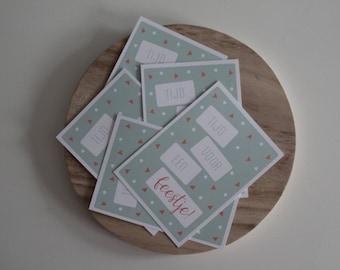 Set van 5 Feestelijke kaarten Birthday Celebration Ansichtkaarten / A6 Card / Party Time