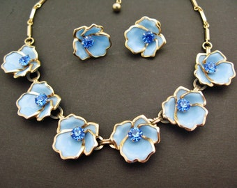 Dafri Signed Pretty Blue Floral Necklace Earring Set Vintage Pastel Blue Flowers With Sapphire Blue Rhinestone Centers Goldtone Chain Screw