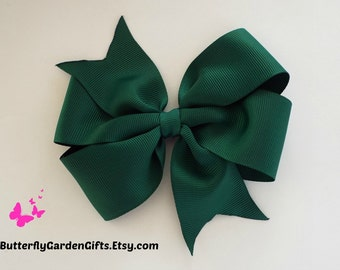 Dark green pinwheel hair bow clip