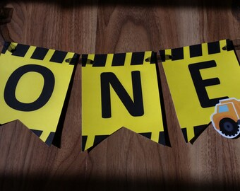 Construction ONE High Chair 1st First Birthday Custom Made Smash Cake Photo Shoot Bunting Banner Birthday Decor