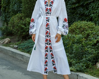 Ukrainian embroidered boho style vyshyvanka dress Linen long white embroidered dress bohemian style Women clothing