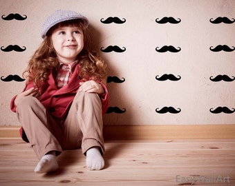 Mustache Wall Decal - Mustache Decal -  Mustache Vinyl Decal Beard Pattern Wall Art for Bedroom, Nursery & Mustache Wall Stickers #P1