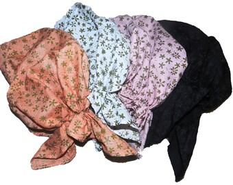 Set of 4 Pre-tied Bandanas. Light Head cover. Size Small. Tichel Head wear. Chemo women's hat.