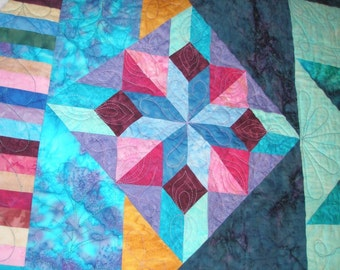 Queen Quilt Handmade Blue Batik Mystery Star in a Star in a Star Quiltsy