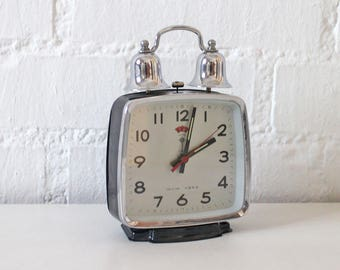 Vintage Alarm Clock Two Bell Large Working clock Black and Silver metal - Retro alarm clock  60s - 70s