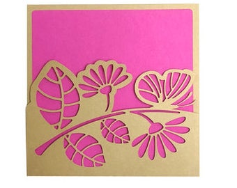 1 Butterfly and Flowers Card , Blank inside , Pink , Spring , Leaves , Papercut , Family , Friends , Co-Workers