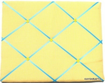Yellow Gingham Memory Board French Memo Board, Fabric Ribbon Bulletin Board,  Fabric Ribbon Board, Ribbon Photo Board, Bedroom Decor