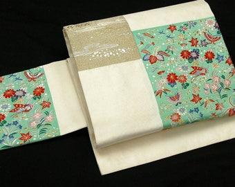 Japanese Kimono Obi / Vintage Silk Obi sash / Nagoya-Obi / 021911