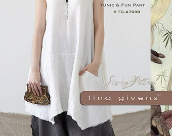Cara Tunic & Pants TG-A7038 Sewing Pattern by Tina Givens- Lagenlook Style!