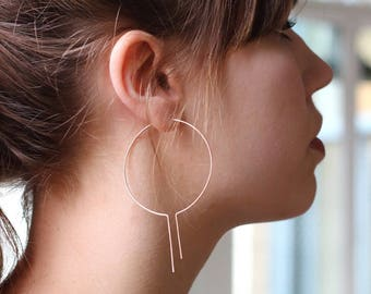 Minimalist Open Hoop Earrings | Thin Gold Hoops | Gold Hoop Earrings | Silver Hoop Earrings [Rhea Earrings]