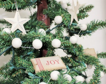 Sale! Felt Ball Garland/Banner! Christmas, parties, weddings, holiday decorations, baby showers, nursery decor! All White