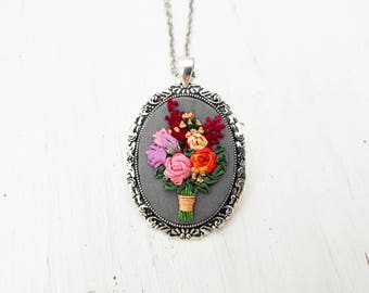Statement necklace gift for girlfriend Botanical necklace Gift wife red Girlfriend boho gift for nature lover Deep red floral rose pendant