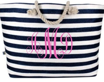 Monogrammed Navy Striped Tote/Beach Bag
