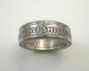 Sizes 7 - 12.  Coin Ring. British Silver 2 Shillings (Florin). Place Your Custom Order Here.