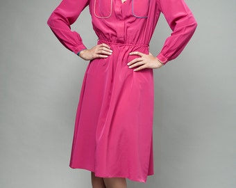 pink dress, long sleeve dress, vintage 80s day dress magenta piping pockets ONE SIZE S M L Small Medium Large