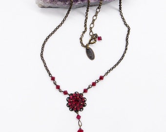 Liz Palacios of San Francisco vintage ruby rhinestone antiqued brass signed necklace