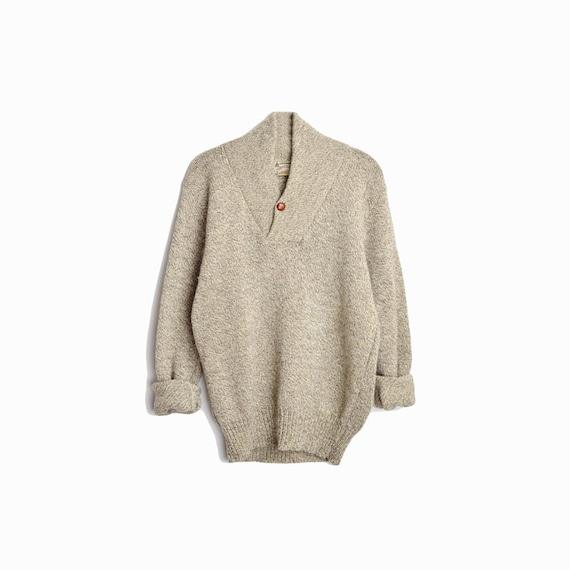 Vintage Men's Shawl Collar Wool Sweater in Marled Tan / Boyfriend Sweater - men's large