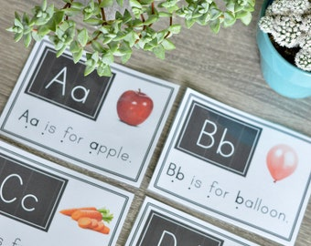 ABC Cards with Letters, Picture, & Sentence