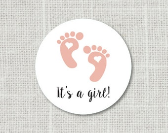It's A Girl Stickers, Baby Shower Stickers, Baby Shower Favor Stickers, Baby Party Labels