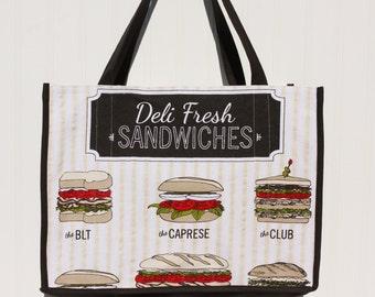 Sandwich Marketing Bag - Farmers Market Bag - Tote - Deli Sandwiches - Sandwich Bag