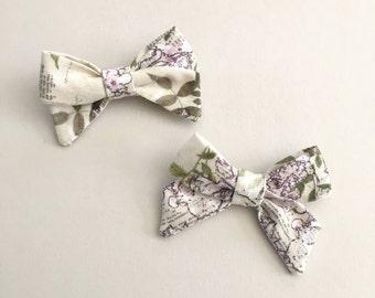 Cotton - Mini Classic Handmade Bow - Purple Bloom